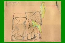 Dvě postavy u postele
