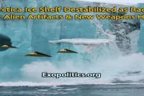 Antarktický šelfový ledovec destabilizován, protože se rozhořel závod o prastaré mimozemské artefakty a nové zbraně; Vojenské základny na Antarktidě