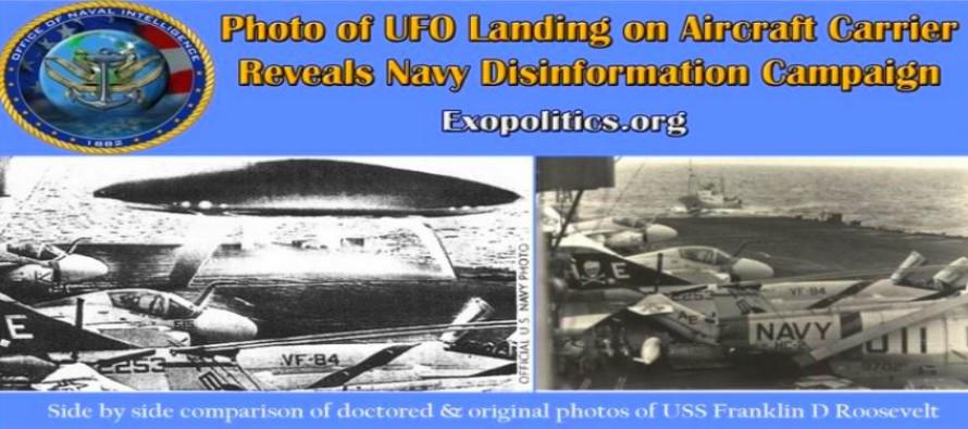Foto přistání UFO na letadlové lodi – odhalení dezinformační kampaně námořnictva – nekalé informační hry s fotografiemi