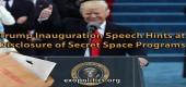 Trump ve své inaugurační řeči naráží na odhalování tajných vesmírných programů