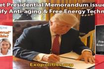 Tajné prezidentské memorandum vydané k tomu, aby odtajnilo technologie proti stárnutí a volnou energii