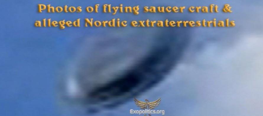 Fotografie létajícího talíře a zřejmě mimozemšťané Nordici